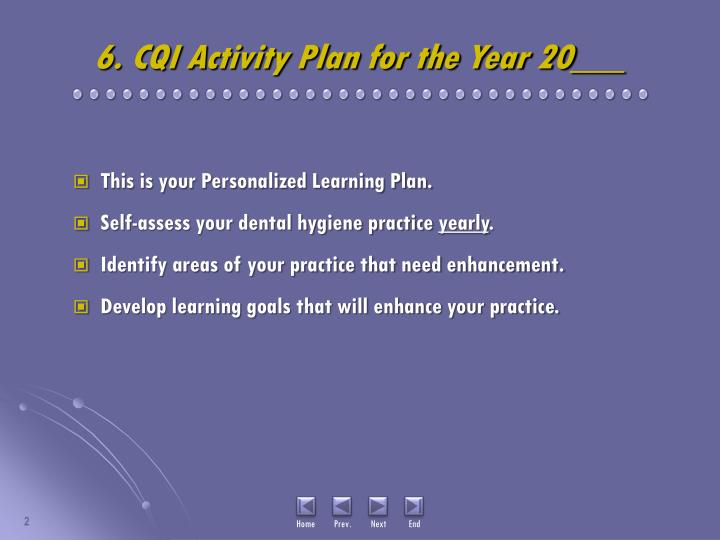 6. CQI Activity Plan for the Year 20___