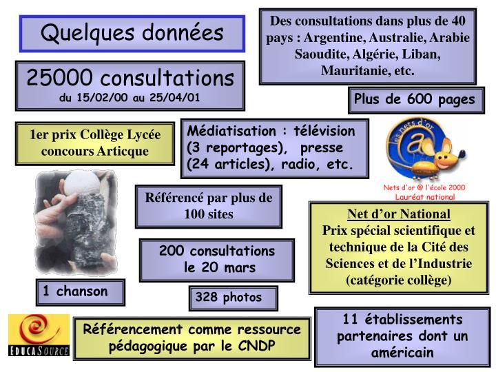 Des consultations dans plus de 40 pays : Argentine, Australie, Arabie Saoudite, Algérie, Liban, Mauritanie, etc.