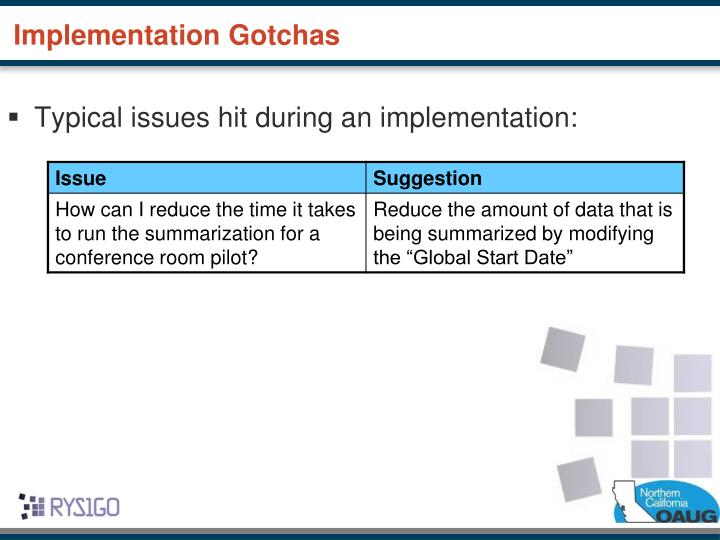 Typical issues hit during an implementation: