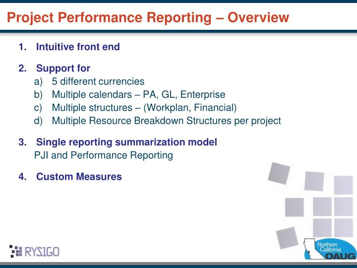 Project Performance Reporting – Overview
