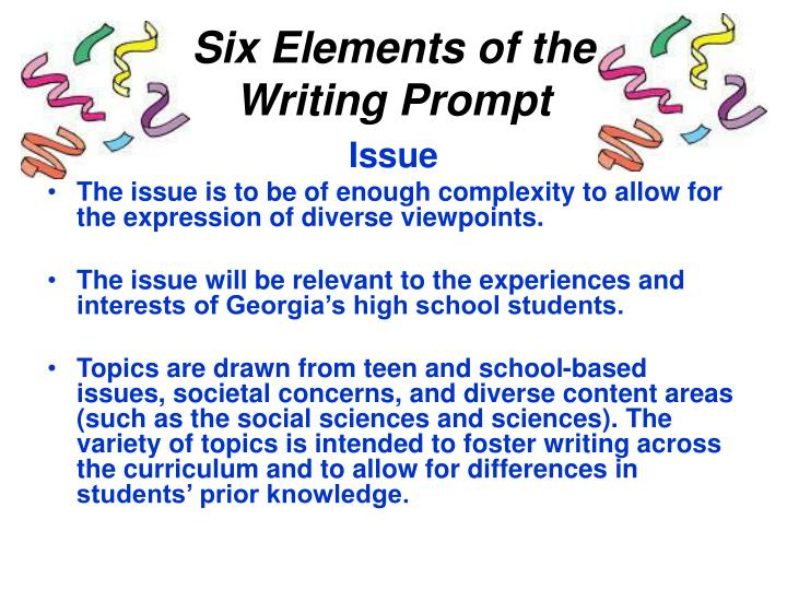 Six elements of the writing prompt
