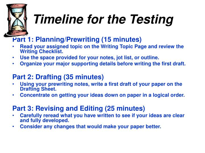 Timeline for the Testing