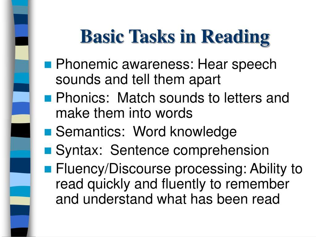 Basic Tasks in Reading