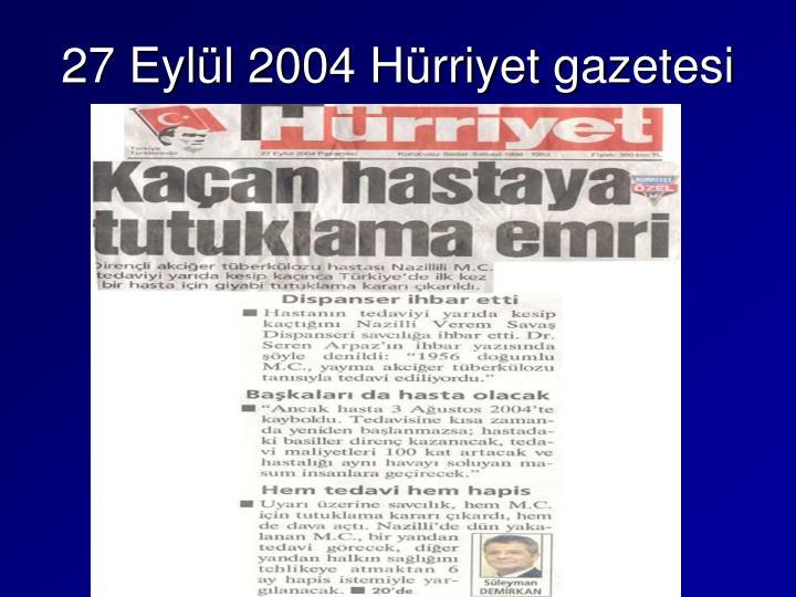 27 Eylül 2004 Hürriyet gazetesi