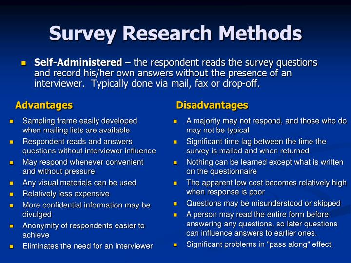 survey research communicating with respondents In research of human subjects, a survey is a list of questions aimed at extracting specific data from a particular group of people surveys may be conducted by phone, mail, via the internet, and sometimes face-to-face on busy street corners or in malls.