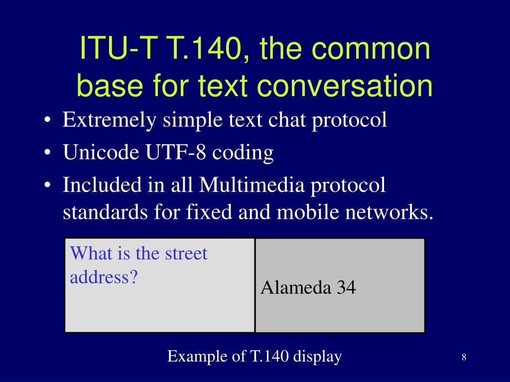 ITU-T T.140, the common base for text conversation