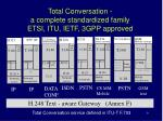 total conversation a complete standardized family etsi itu ietf 3gpp approved