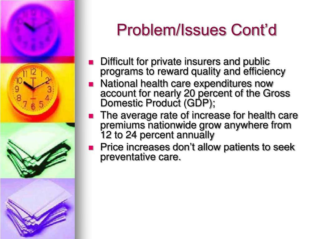 Problem/Issues Cont'd
