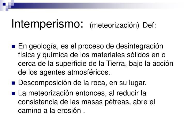 Intemperismo: