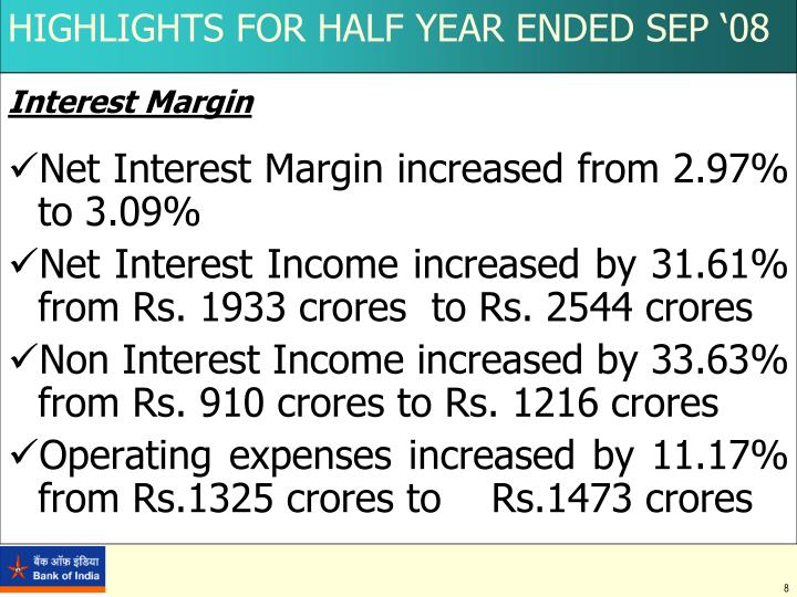 HIGHLIGHTS FOR HALF YEAR ENDED SEP '08