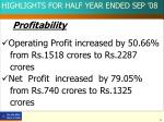 highlights for half year ended sep 081