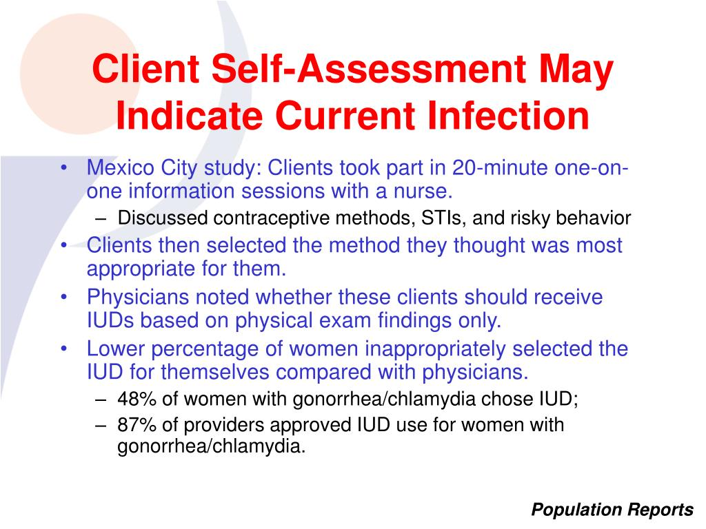 Client Self-Assessment May Indicate Current Infection