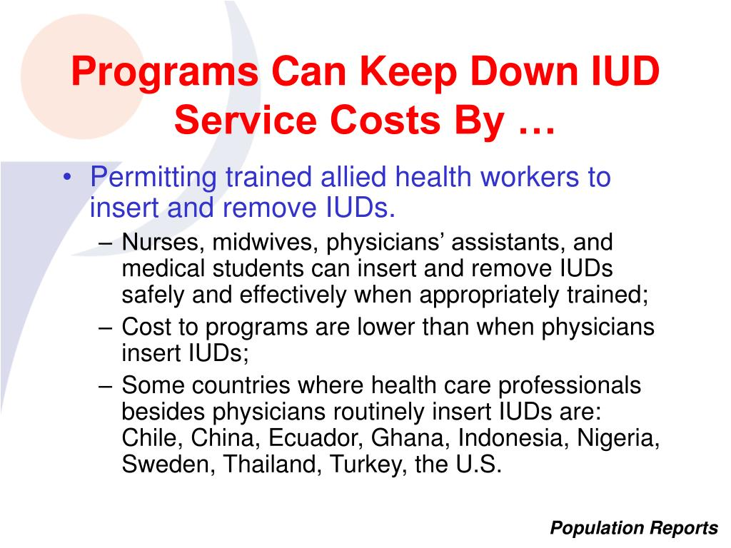 Programs Can Keep Down IUD Service Costs By …