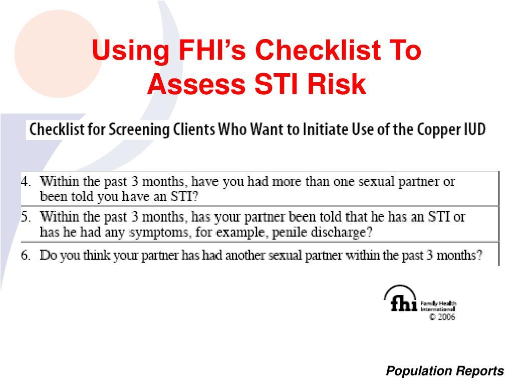 Using FHI's Checklist To Assess STI Risk