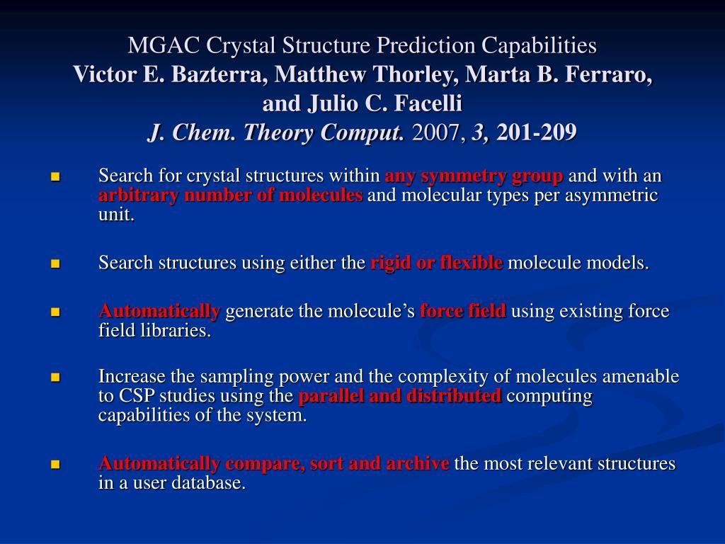 MGAC Crystal Structure Prediction Capabilities