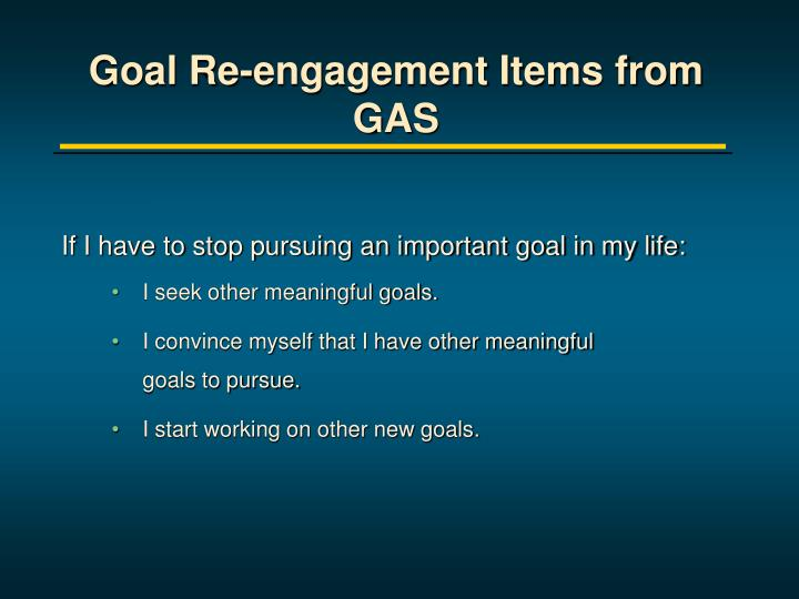 Goal Re-engagement Items from GAS