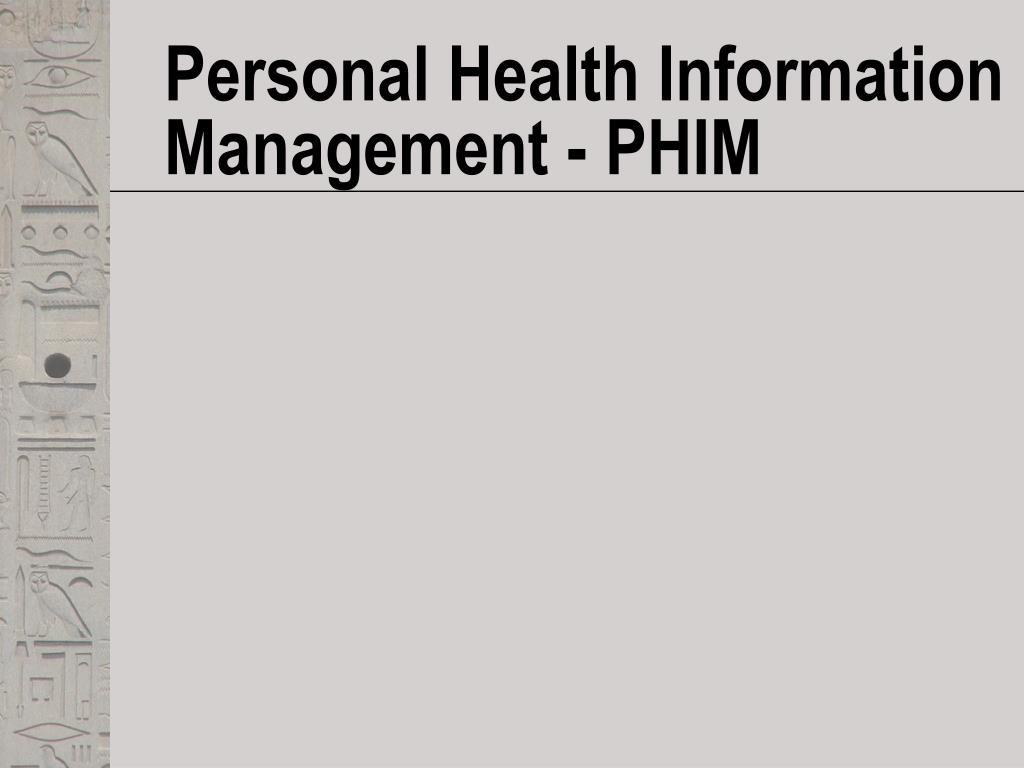 personal health information management phim l.