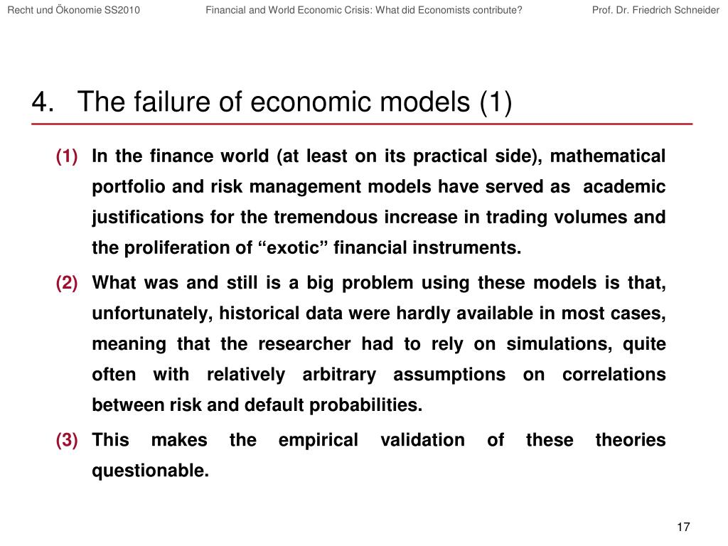 The failure of economic models (1)