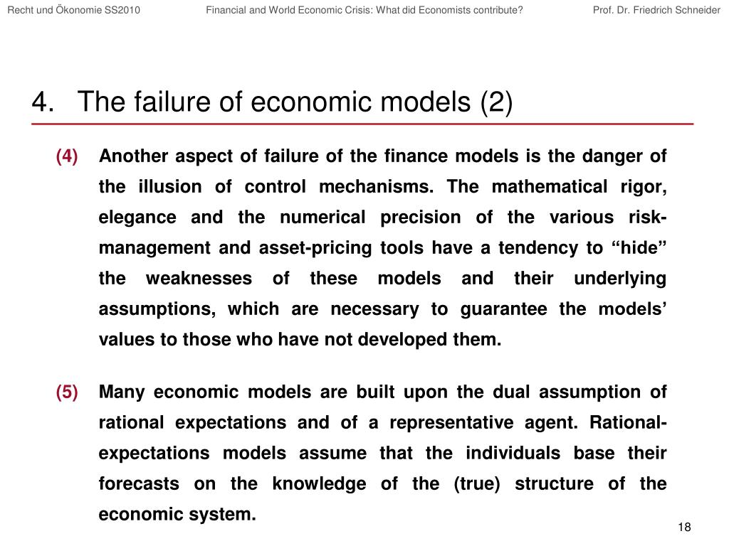 The failure of economic models (2)