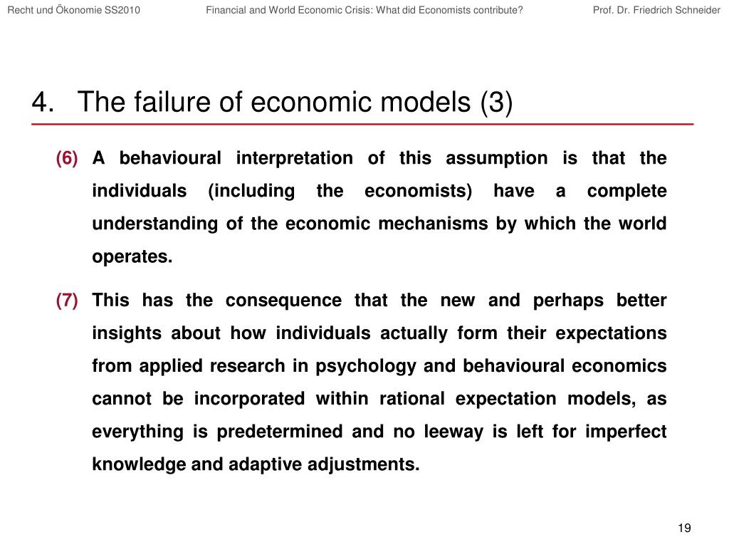 The failure of economic models (3)