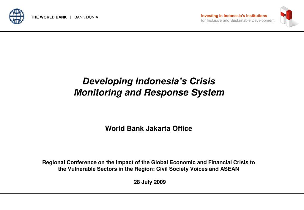 developing indonesia s crisis monitoring and response system l.