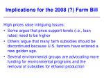implications for the 2008 farm bill