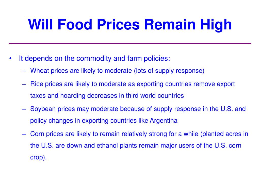 Will Food Prices Remain High