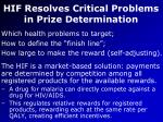 hif resolves critical problems in prize determination