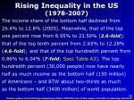 rising inequality in the us 1978 2007