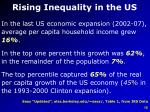 rising inequality in the us