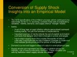 conversion of supply shock insights into an empirical model