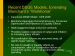recent dsge models extending blanchard s workhorse