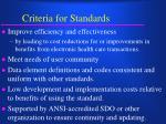 criteria for standards
