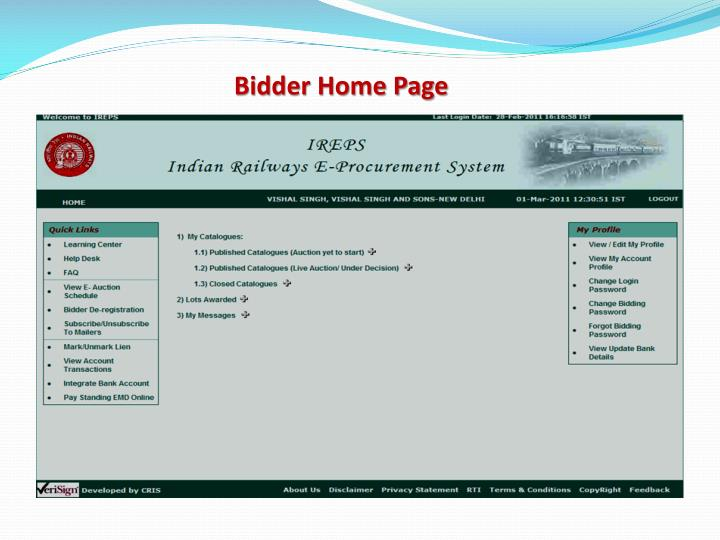 Bidder Home Page