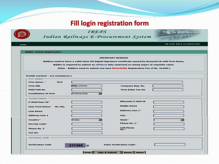 Fill login registration form