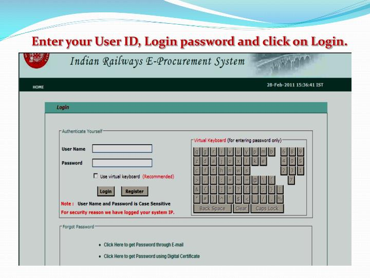 Enter your User ID, Login password and click on Login