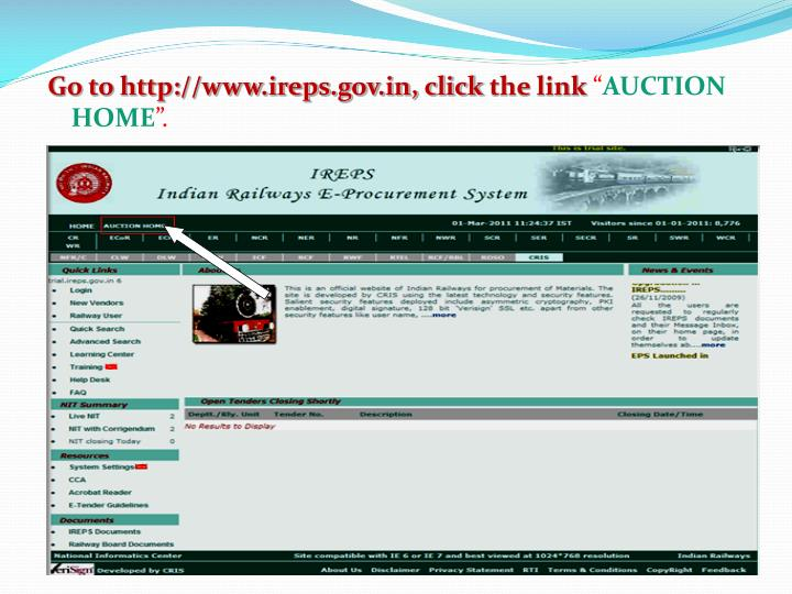 Go to http://www.ireps.gov.in, click