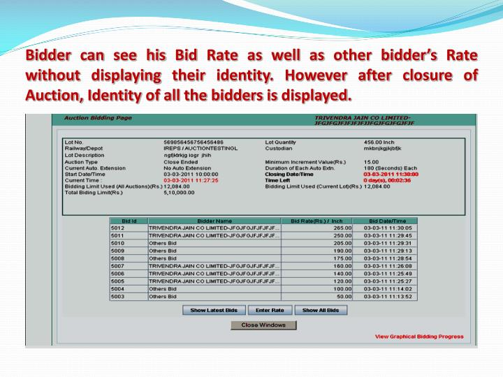 Bidder can see his Bid Rate as well as other bidder's Rate without displaying their identity. However after closure of Auction, Identity of all the bidders is displayed.