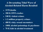 a devastating tidal wave of alcohol related harm resulted