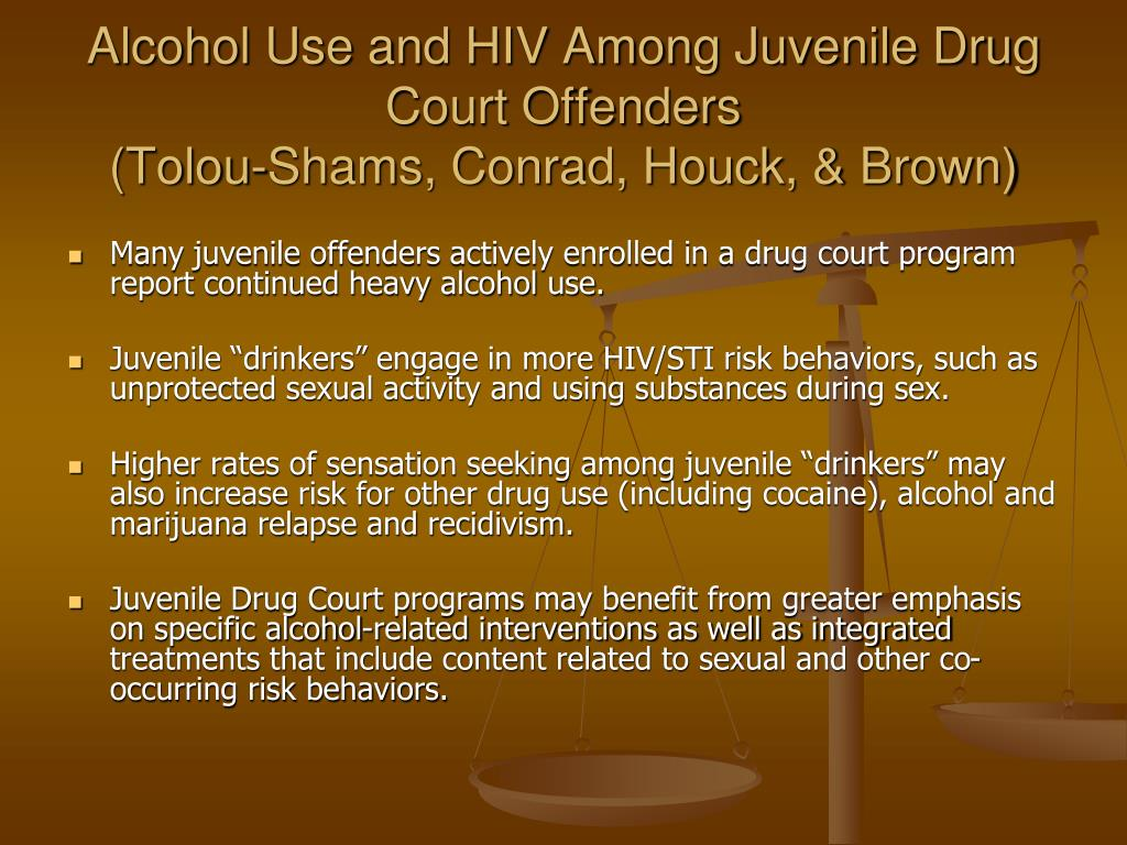 Alcohol Use and HIV Among Juvenile Drug Court Offenders