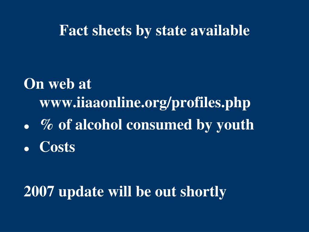 Fact sheets by state available