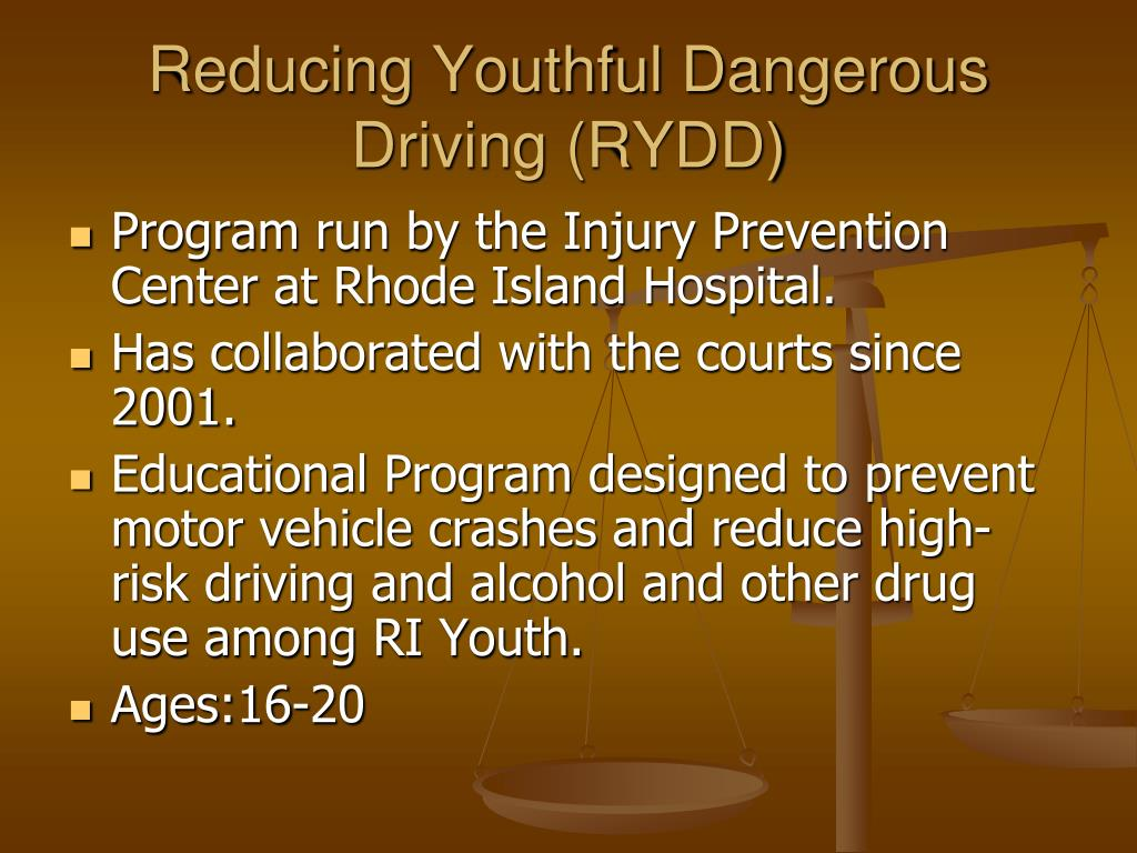Reducing Youthful Dangerous Driving (RYDD)