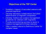 objectives of the tef center