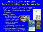 office of public health and environmental hazards deliverables