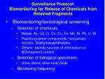 surveillance protocol biomonitoring for release of chemicals from retained fragments