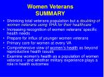 women veterans summary