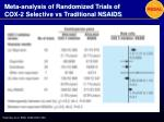 meta analysis of randomized trials of cox 2 selective vs traditional nsaids