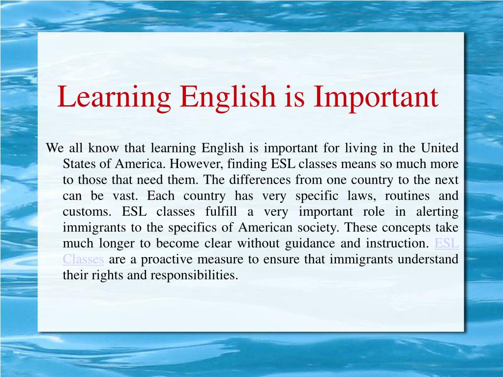 Learning English is Important