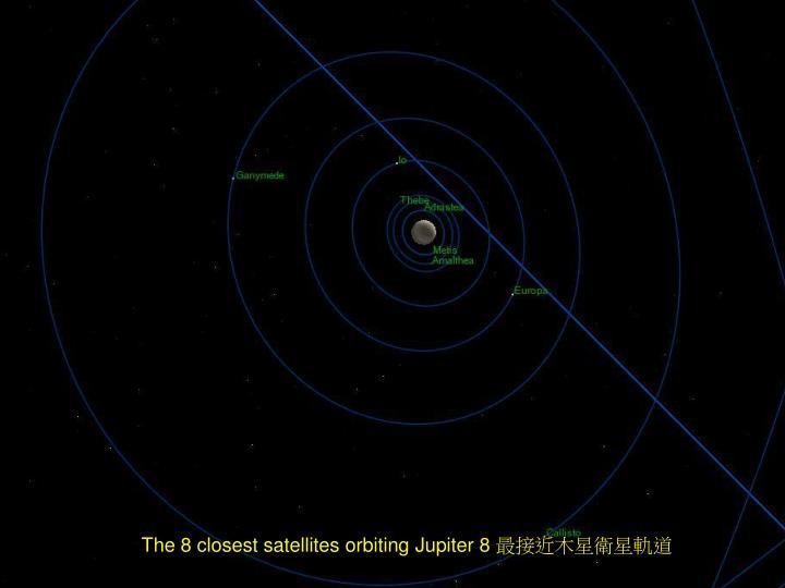 The 8 closest satellites orbiting