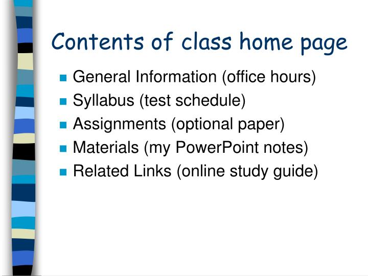 Contents of class home page